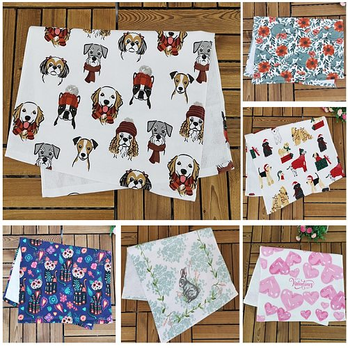 1pc 70x45cm Dish Towel Cotton Kitchen Towel Cute Tea Towel Napkin Soft Absorbent Cleaning Cloth Dogs Cats Rabbit 8 Designs