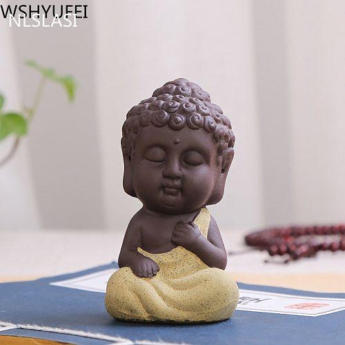 1 PCS Purple Clay Tea Pet Ornaments Monk Small Buddha Statue Monk Figurine tea set Accessories Boutique Tea Table Decoration