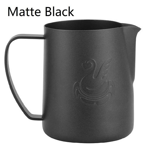 400ml/600ml Stainless Steel Milk Frothing Cup Coffee Mug Frothing Pitcher Jug Black  Swan Pattern Latte Art Accessory