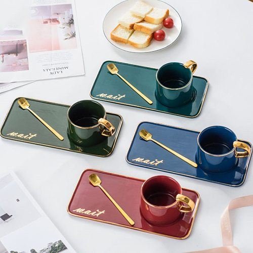 Hot Sell Ceramic Coffee Cup Saucers Small Delicate Nordic Style Simple Household Cup Set Light Luxury  Afternoon Tea Snack Plate