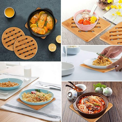Pack Bamboo Trivet Mat Hot Pot Holder Pads
