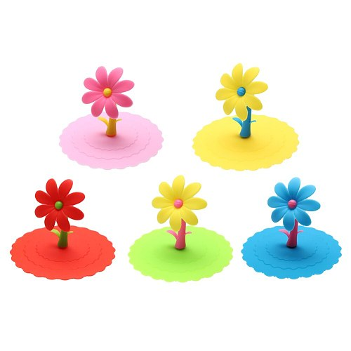 Multicolor Sunflower Dustproof Reusable Silicone Anti-dust Cap Cup Lid DIY Leakproof Cover Insulation Cup Cover