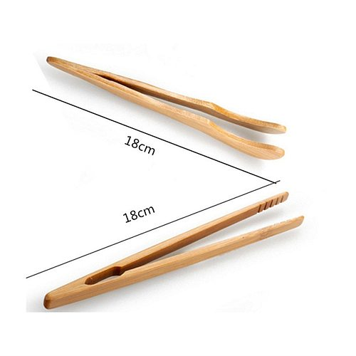 18cm Wooden Tea Clip Wood Toast Tong Wooden Toaster Bagel Bacon Squeezer Sugar Ice Tea Tong Bamboo Teaware