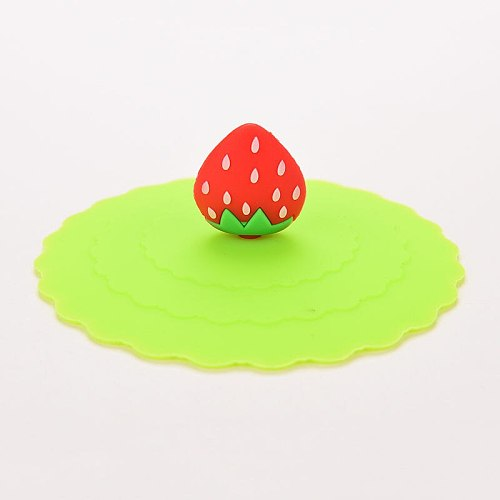 1PC Lovely Fruit Duck Footprints Shape Cup Cover Cute Anti-dust Silicone Cup Cover Coffee Suction Seal Lid Cap 5 style