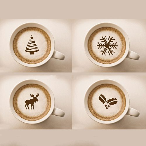 4pcs  Cartoon Pattern Cappuccino Coffee Foam Spray Template Stencils DIY Decorating Coffee Printing Mold Barista Tools