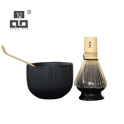 TANGPIN 4pcs/set traditional matcha giftset bamboo matcha whisk scoop ceremic Matcha Bowl Whisk Holder matcha tea sets