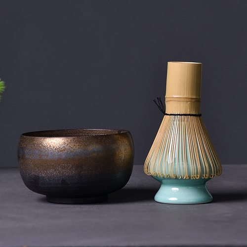 LUWU traditional matcha sets natural bamboo matcha whisk ceremic matcha bowl whisk holder japanese style tea sets