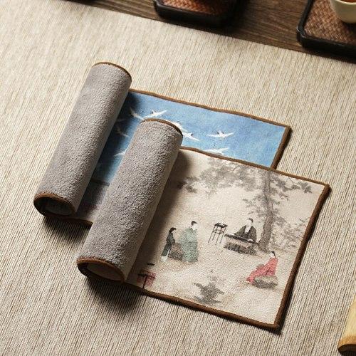 High-end tea towels tea cloth tablecloth absorbent tea table mats raise pot towels tea mat thickening Zen painted tea cloth29*15
