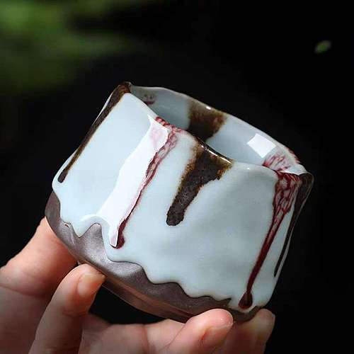 Kiln Baked Large Tianmu Jianzhan Firewood Ru Kiln Ceramic Kung Fu Tea Set Single Cup Coarse Pottery Master Cup Single Cup Gift