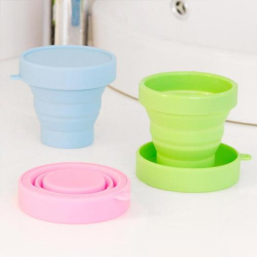 1 Pcs Food Grade Water Cup Protable Solid Color Water Silicone Cups Folding Gargle Cup For Outdoor Travel Drinkware Tools