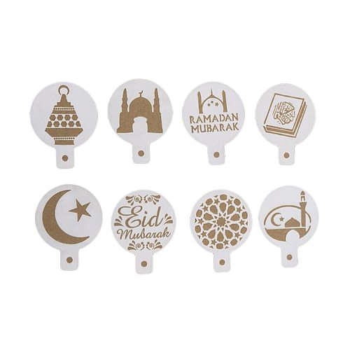NEW 8pcs/set PET Mosque Eid Mubarak Ramadan Design Coffee Stencils,laser cut cookie Biscuits fondant cake mold Ramadan supplies