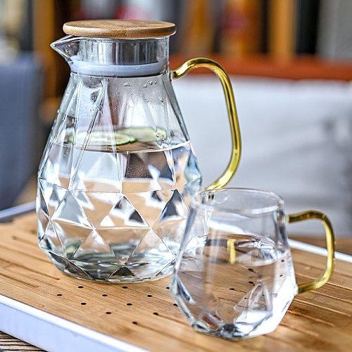 1.5L Diamond Texture Glass Teapot Set Hot Cold Water Water Jug Transparent Coffee Pot Home Water Carafe Heat-resistant Teapot Se