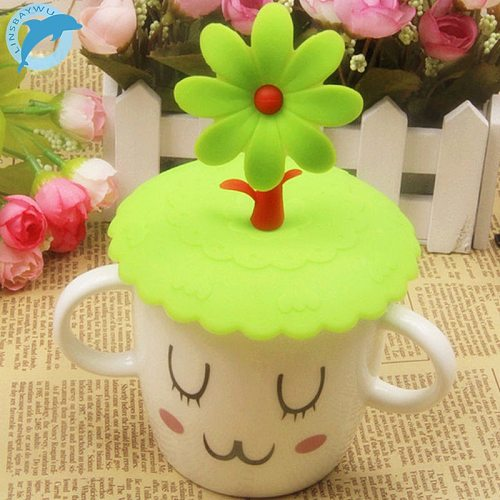 LINSBAYWU Cute Anti-dust Silicone  Cup Cover Coffee Suction Seal Lid Cap Silicone Airtight Love Spoon Novelty