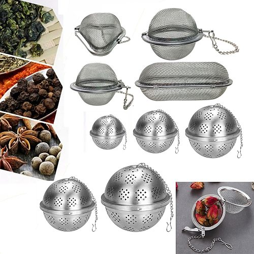 Reusable 304 Stainless Steel Tea Infuser Sphere Locking Spice Tea Ball Strainer Mesh Infuser Tea Filter Strainers Kitchen Tools