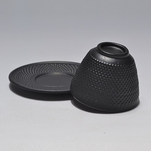 Cast Iron Teacup 4pcs Cup and Dish Set Iron Leisure Drinkware Shiny Black Water Cup Chinese Style Tea Cup