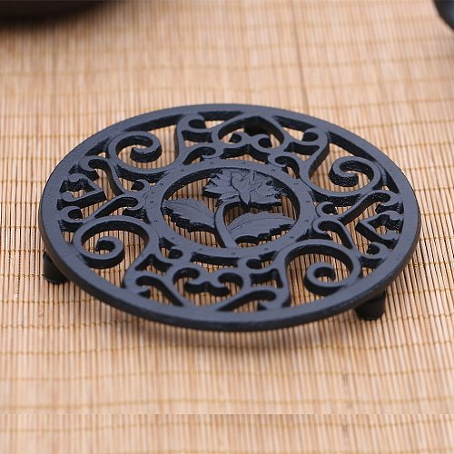 12cm Exquisite Cast Iron Teapot Trivets Teapot Holder Chrysanthemum Pattern Pot Mat Kitchen Teaware Tea Ceremony Accessories