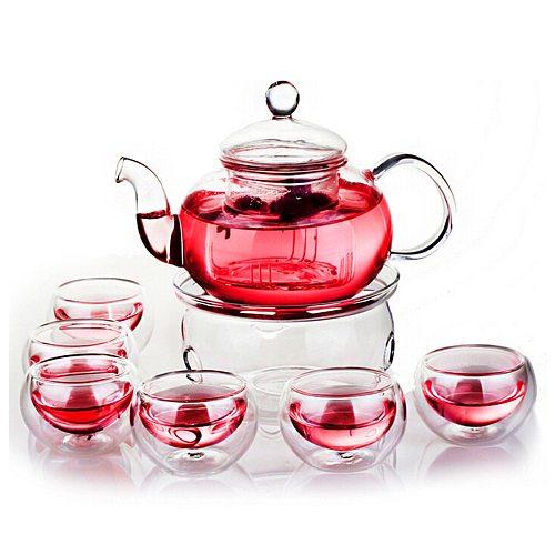 600ml Teapot Set Heat-resistant Glass Teapot with Round Candle Holder Teacup Flower Tea Kung Fu Tea Pot Teaware Gift
