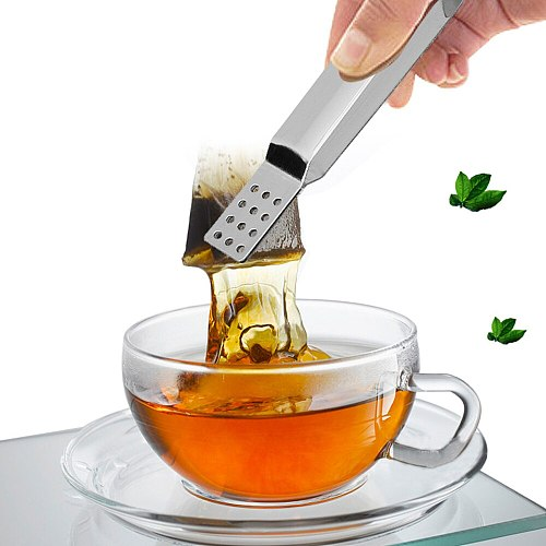Metal Spoon Mini Sugar Clip Tea Leaf Strainer New Reusable Stainless Steel Tea Bag Tongs Teabag Squeezer Strainer Holder Grip