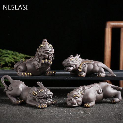 1 PCS Purple Clay brave troops Figurine Lucky Ornament Tea Pets Boutique Home Tea Table Decoration Accessories Tea Set Crafts