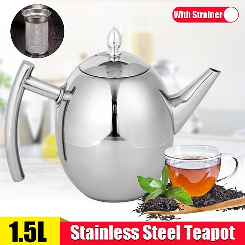 1.5L Teapot with Infuser Stainless Steel Water Kettle Tea pot Polish Fashion Durable Coffee Cold Water Pot Home Tea Cafe Tool
