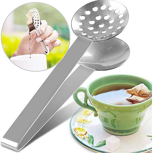 Reusable Stainless Steel Tea Bag Tongs Teabag Squeezer Strainer Holder Grip Metal Spoon Mini Sugar Clip Tea Leaf Strainer
