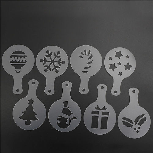 8pc Merry Christmas Gift Socks Design Cookies Stencil Coffee template Stencils Fondant sugarcraft Cake Decorating Tools Bakeware