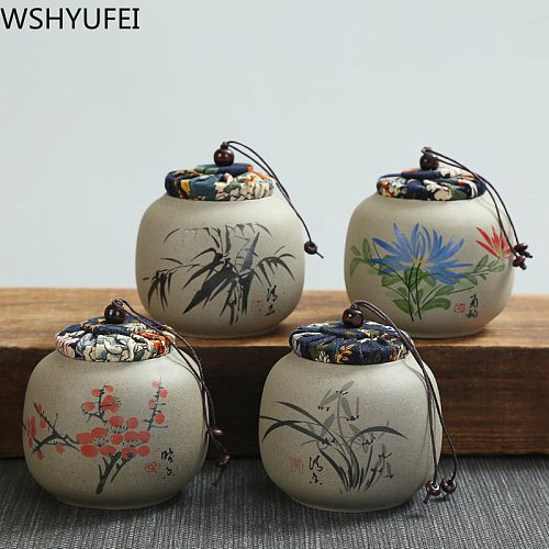 1PCS storage tank teapot canned Pu'er stoneware oolong tea travel Tea Boxes Chinese porcelain ceramic tea caddy coffee canister