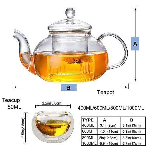 Heat-resistant Glass Teapot Double Wall Glass Teacup Clear Tea Pot Infuser Qolong Tea Kettle Tea Different Flavors