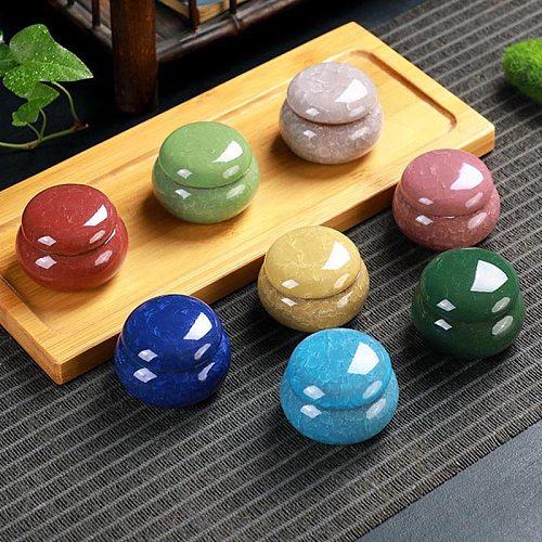 16 Colors Mini Tea Box Glazed Ceramic Jar Storage Boxes Pottery Jar Airtight Coffee Box Kitchen Food Storage Pots Ointment Jar