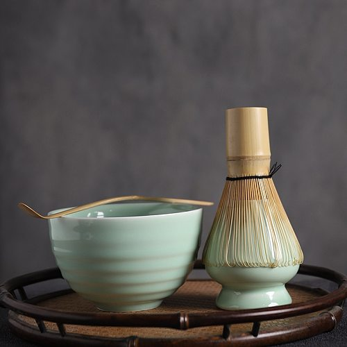 BuuCup 4pcs/set traditional matcha natural bamboo matcha whisk scoop ceremic Matcha Bowl Whisk Holder  giftset a tea sets