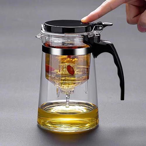 Tea Pots Heat Resistant Glass Tea Pot Tea Infuser Chinese Kung Fu Tea Set Kettle Coffee Glass Maker Convenient Office Tea Sets