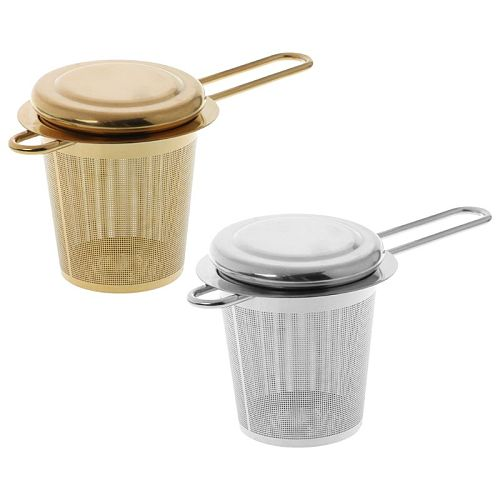 Reusable Mesh Tea Infuser Stainless Steel Strainer Loose Leaf Teapot Spice Filter With Lid Cups Kitchen Accessories