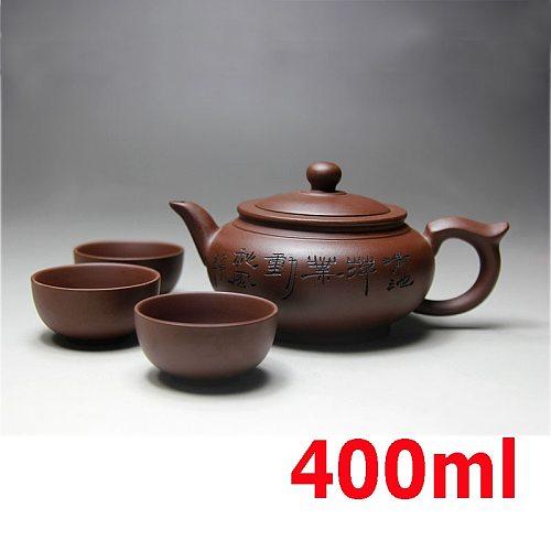 Top Sale Kung Fu Tea Set Yixing Teapot Handmade Tea Pot Cup Set 400ml Zisha Ceramic Chinese Tea Ceremony Gift BONUS 3 CUPS 50ml