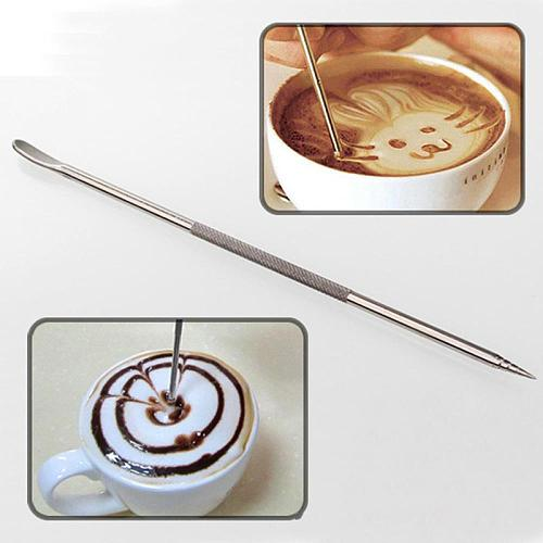 LINSBAYWU 1Pc Useful Stainless Steel Barista Cappuccino Latte Espresso Coffee Decorating Pen Art Household Kitchen Cafe Tool