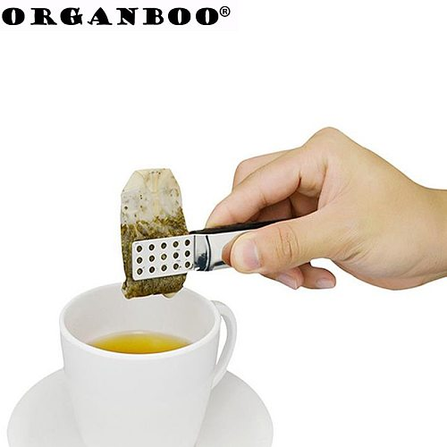 ORGANBOO 1PC Stainless steel tea bag clip anti-hot clamp tong tea accessories small food clips