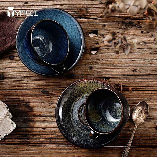 YMEEI 220ML Bone China Coffee Cup And Saucer Set Japanese-style Coffee Mug Classical Ceramics Tea Cafe Espresso Cup Drinkware