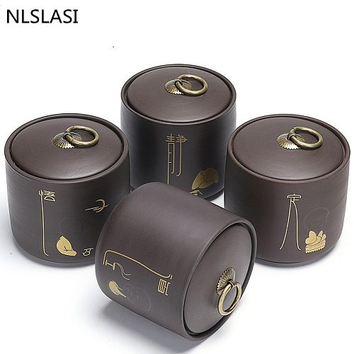 NLSLASI Chinese Coarse Pottery Tea Cans Portable Pu'er Green Tea Sealed Cans Storage Tanks ceramics Travel Tea Leaf Box