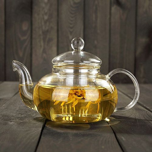 High quality Heat Resistant Glass Tea Pot,Practical Bottle Flower Tea Cup Glass Teapot with Infuser Tea Leaf Herbal Coffee