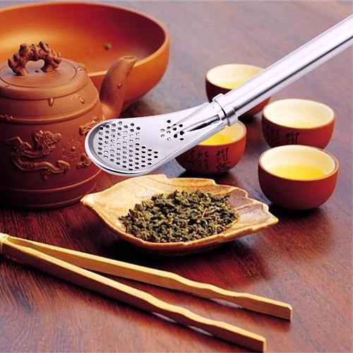 Stainless Steel Drinking Straw Spoon Tea Filter Yerba Mate Tea Straws Bombilla Gourd Reusable Tea Tools Washable Bar Accessories