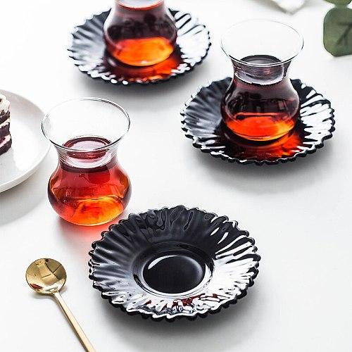 PASABAHCE Turkey Black Tea Cup & Saucer Sets Water Drop Cafe Bohea Teacup Espresso Coffee Tray Kit Heat-resistant Glass Tumbler