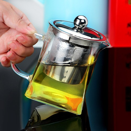 Borosilicate Glass Teapot Heat Resistant Square Glass Teapot Tea Infuser Filter Milk Oolong Flower Tea Pot