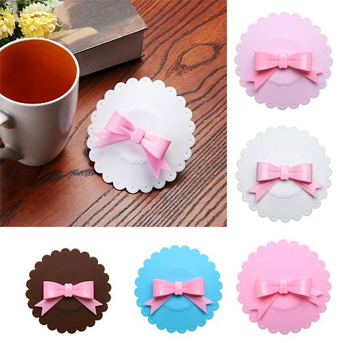 Bowknot Dustproof Reusable Cup Silicone Cup Cover Coffee Suction Seal Lid Cap Creative