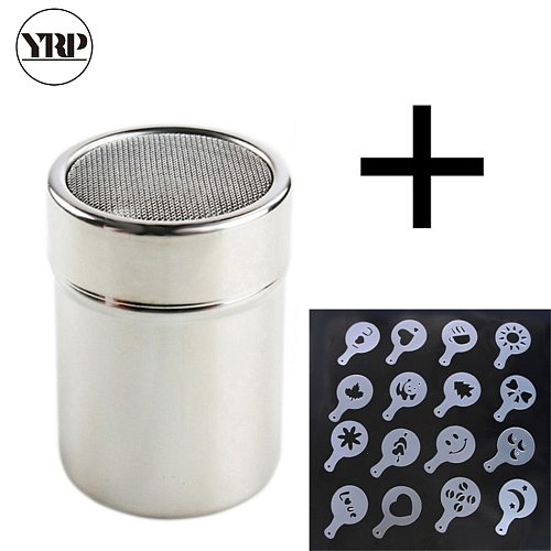 Stainless Chocolate Shaker Cocoa Flour Sugar Powder Coffee Sifter16Pcs Coffee Stencils kitchen accessories barista tools Duster