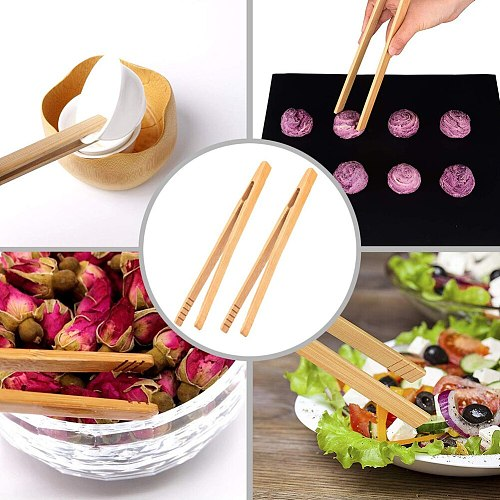4Pcs Bamboo Food Clip Toaster Salad Cake Tea Tweezer Clamp Tongs Cooking Tool 2020