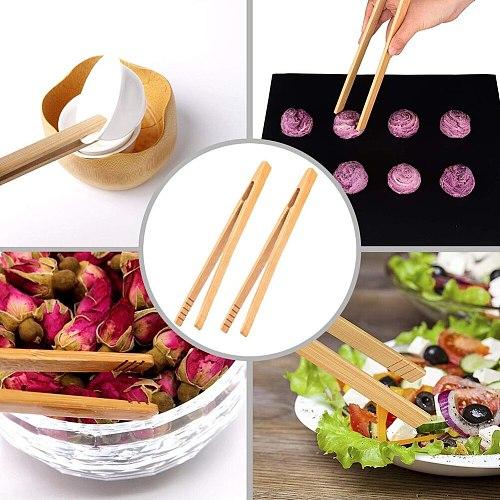 4Pcs Bamboo Food Clip Toaster Salad Cake Tea Tweezer Clamp Tongs Cooking Tool 2020