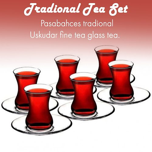 Set of 6 thin waist turkish tea cups high quality glasses Turkish Tea Glasses and Saucers Set 6 Glasses 6 Saucers For six person