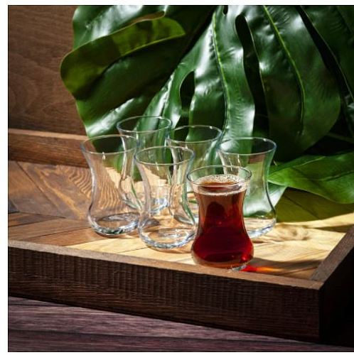 Set of 6 thin waist turkish tea cups high quality glasses-5 o'clock presentation serving - for six person - each glass 135 cc