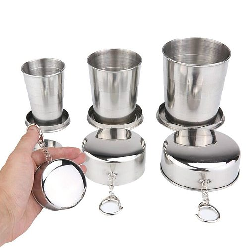 Portable Stainless Steel Camping Folding Cup Retractable Cup Outdoor Travel Collapsible Cup Portable Drinkware 75/140ml