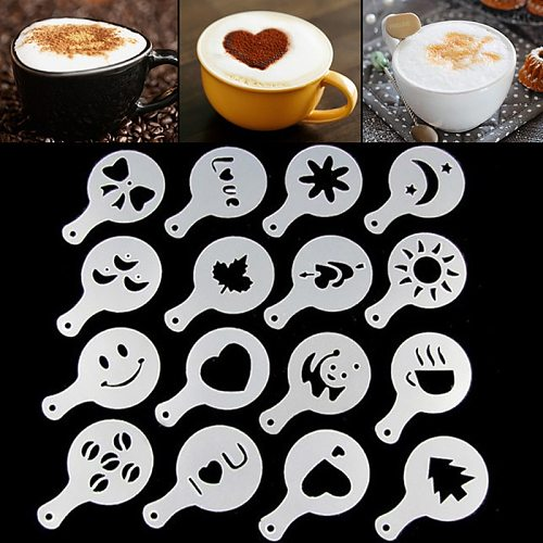 16pcs / set Pull Flower Stencils Patterns Print Shape Coffee Mold Cappuccino Latte Cake Templates Spray Flower Barista Tools