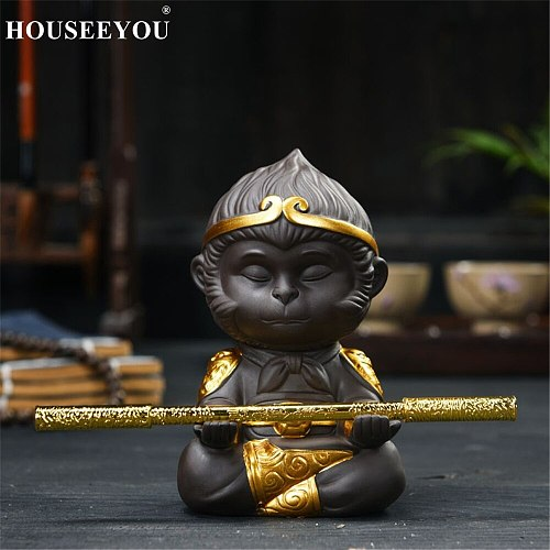 Chinese Purple Clay Kung Fu Tea Pets Monkey King Tea Tray Sun Wukong Statues Sculptures for Home Office Decoration Crafts